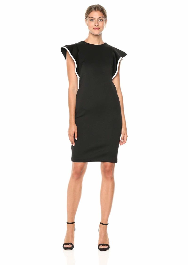 Calvin Klein Women's Scuba Sheath with Contrast Piping Dress