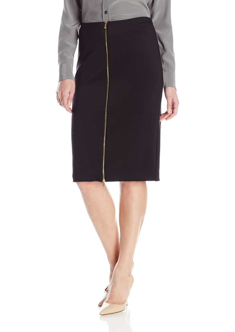 Calvin Klein Women's Scuba Skirt W/Center Zip