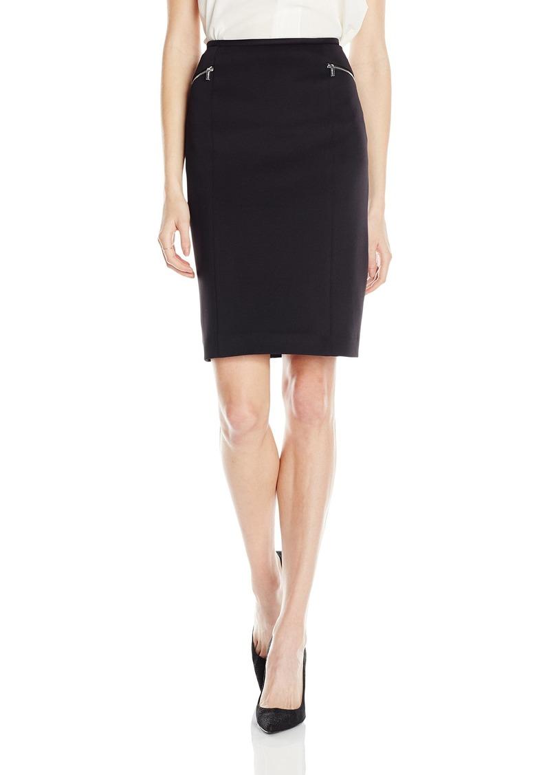 Calvin Klein Women's Scuba Skirt with Side Zippers