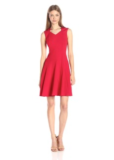 Calvin Klein Women's Sculpted Neck Fit and Flare Ponte Sheath