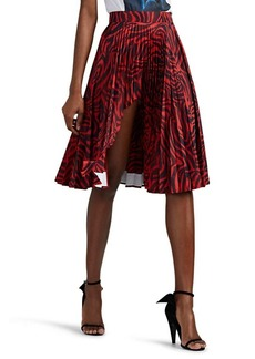 CALVIN KLEIN 205W39NYC Women's Shark-Bite Zebra-Print Tech-Satin Midi-Skirt