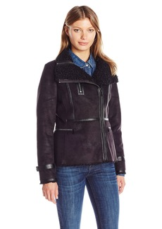 Calvin Klein Women's Shearling Jacket with Faux Leather  M