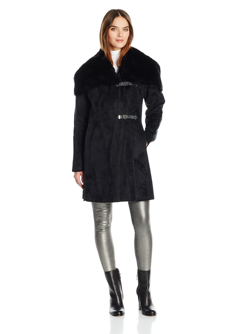 Calvin Klein Women's Shearling Wool Blend Coat with Faux Fur Collar and Buckle Closure  S