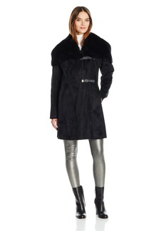 Calvin Klein Women's Shearling Wool Blend Coat with Faux Fur Collar and Buckle Closure  XL