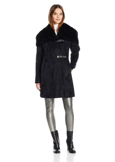Calvin Klein Women's Shearling Wool Blend Coat with Faux Fur Collar and Buckle Closure  XS