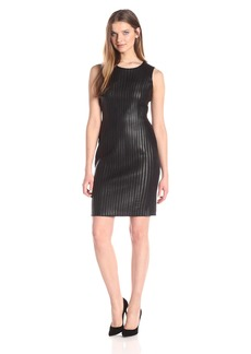 Calvin Klein Women's Sheath Dress W/Faux Leather Piping