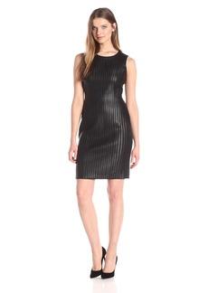 Calvin Klein Women's Sheath Dress W/Faux Leather Piping