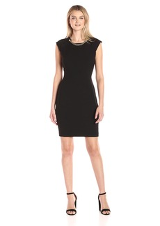 Calvin Klein Women's Sheath Dress with Chain Detail