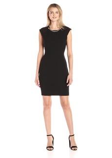 Calvin Klein Women's Sheath Dress with Chain Detail