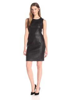 Calvin Klein Women's Sheath Dress with Faux Leather Piping