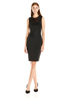Calvin Klein Women's Sheath Dress with Lace and Mesh Insert