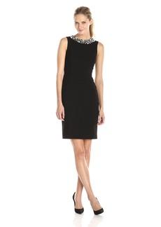 Calvin Klein Women's Sheath Dress With Pearl Neck