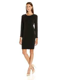 Calvin Klein Women's Sheath Dress with Studs On Sleeve
