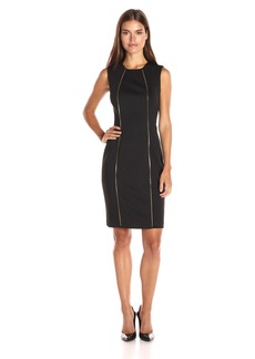 Calvin Klein Women's Sheath Dress with Zipper Teeth Detail
