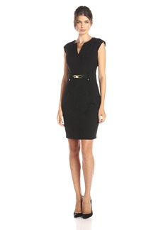 Calvin Klein Women's Shift Dress W/Gold Hardware