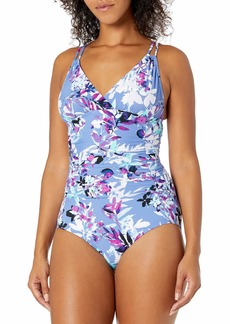 Calvin Klein Women's Shirred One Piece Swimsuit with Removable Cups