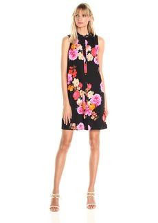 Calvin Klein Women's Shirt Collar Button Front Floral Printed Trapeze Dress