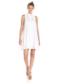 Calvin Klein Women's Shirt Collar Cotton Eyelet Button Front Trapeze Dress