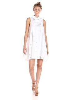 Calvin Klein Women's Shirt Collar Cotton Eyelet Button Front Trapeze Dress