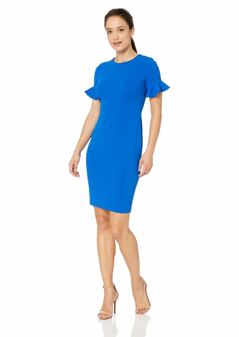Calvin Klein Women's Short Flutter Sleeved Sheath Dress