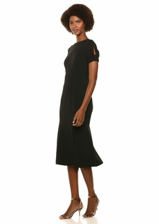 Calvin Klein Women's Short Midi Dress with Keyhole Knot Sleeve