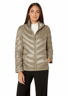 Calvin Klein Women's Short Packable Down Jacket with Stand Collar SHINE THISTLE XL