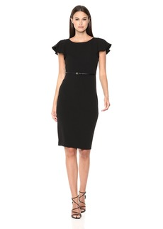 Calvin Klein Women's Short Ruffle Sleeve Sheath with Belted Waist