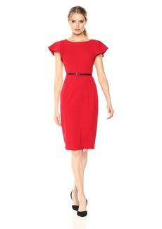 Calvin Klein Women's Short Ruffle Sleeve Sheath with Belted Waist red