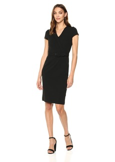 Calvin Klein Women's Short Sleeve Belted Sheath Dress