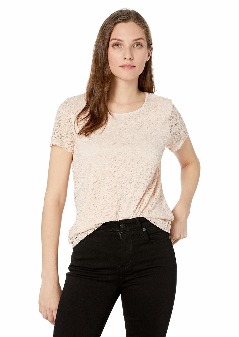 Calvin Klein Women's Short Sleeve Floral Lace Tee