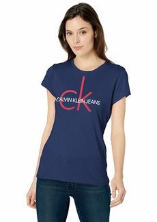 Calvin Klein Women's Short Sleeve Heritage Ck Logo T-Shirt