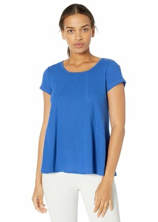 Calvin Klein Women's Short Sleeve Hi Low Tee with Angled Front Seams  L
