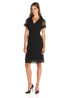 Calvin Klein Women's Short Sleeve Lace Sleeve Dress