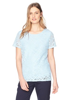 Calvin Klein Women's Short Sleeve LACE TEE ICEBURG L