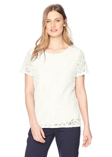 Calvin Klein Women's Short Sleeve Lace Tee  S