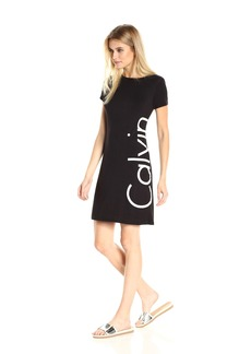 Calvin Klein Women's Short-Sleeve Logo T-Shirt Dress  M
