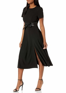 Calvin Klein Women's Short Sleeve Midi Dress with Faux Leather Waist Band
