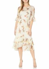 Calvin Klein Women's Short Sleeve Midi Dress with High Low Ruffle Skirt