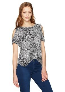 Calvin Klein Women's Short-Sleeve Printed Cold Shoulder Top  M
