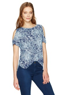 Calvin Klein Women's Short-Sleeve Printed Cold Shoulder Top  S