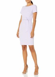 Calvin Klein Women's Short Sleeve Sheath with Self Buckle Belt
