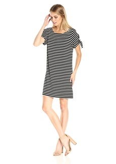 Calvin Klein Women's Short-Sleeve Stripe Dress with Ties  L