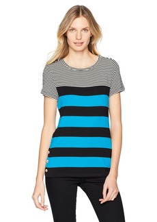 Calvin Klein Women's Short Sleeve Stripe Tee with Buttons ADRTC/BLK XL