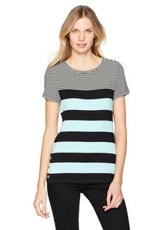 Calvin Klein Women's Short Sleeve Stripe Tee with Buttons  S