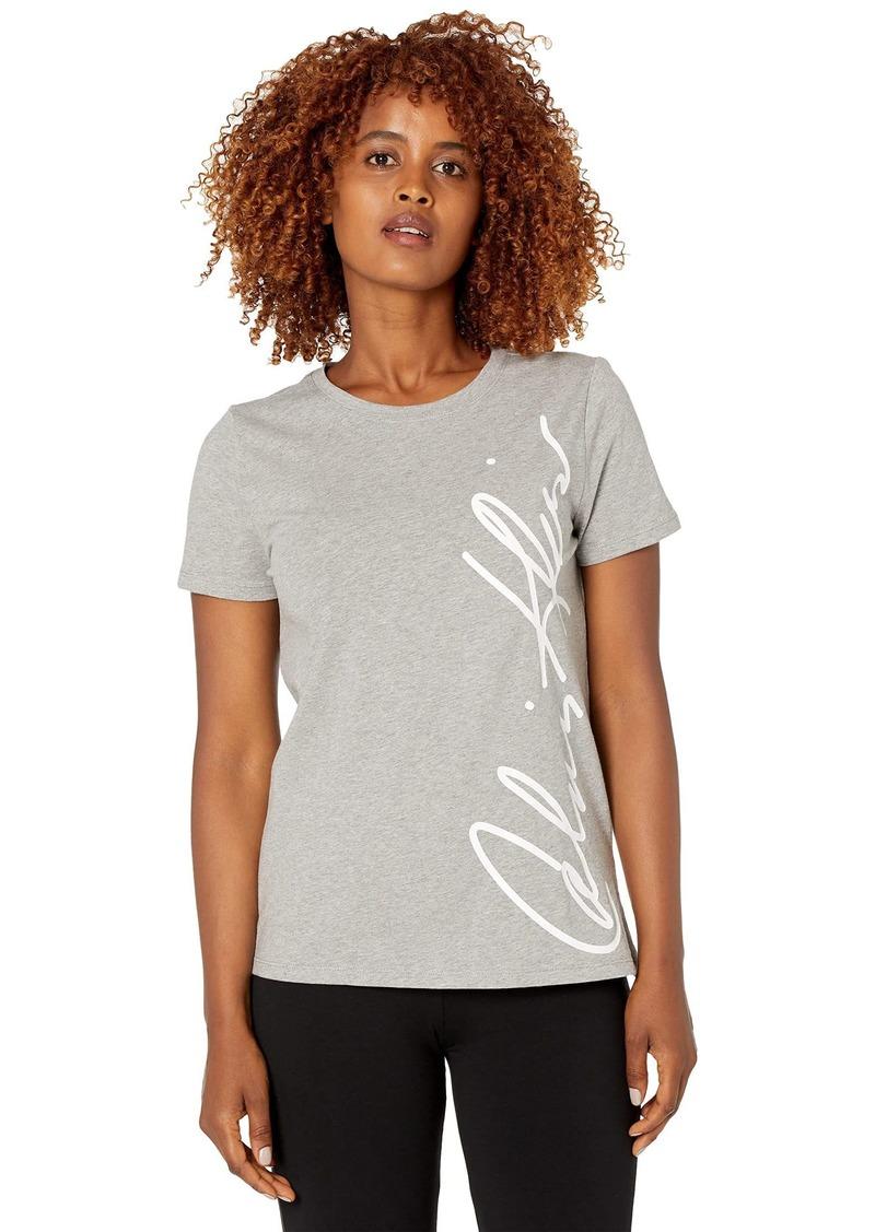 Calvin Klein Women's Short Sleeve TEE with Logo HTR GRANITE M