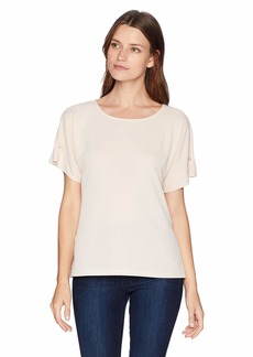 Calvin Klein Women's Short Sleeve TEE with Pearl Detail  M