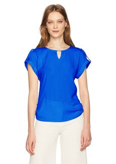 Calvin Klein Women's Short-Sleeve Top With Bar Hardware  L