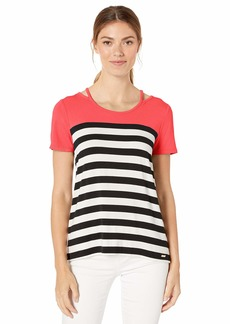 Calvin Klein Women's Short Sleeve TOP with Cut Outs