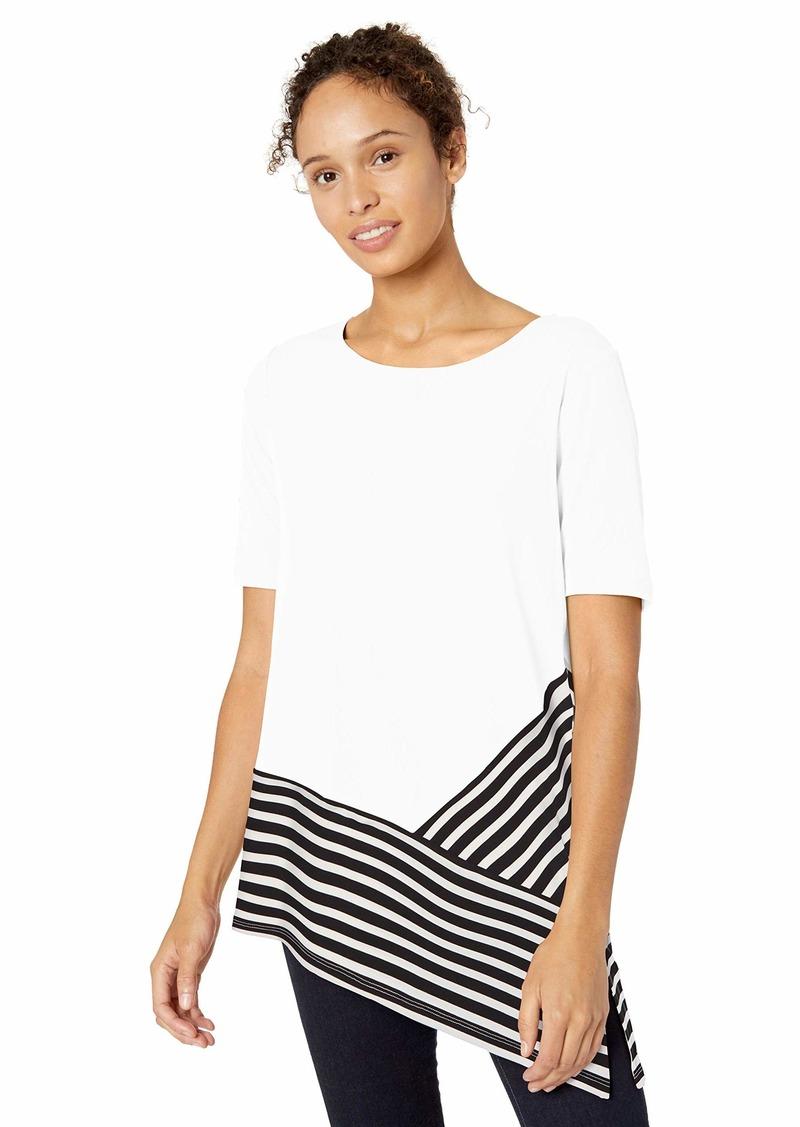 Calvin Klein Women's Short Sleeve TOP with Stripe Combo