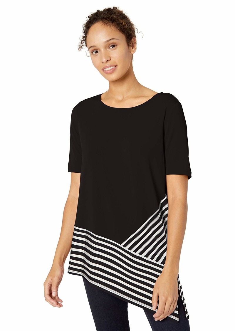 Calvin Klein Women's Short Sleeve TOP with Stripe Combo